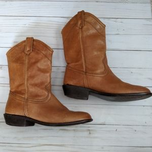 Steve Madden Lasoo London Tan Leather Ankle Boots